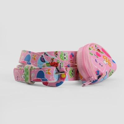 Ремень детский «Совы», пряжка в цвет ремня, с кошельком, ширина - 1,8 см, цвет розовый