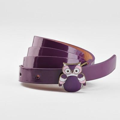 Ремень детский «Совушка», гладкий, пряжка металл-эмаль, ширина - 1,5 см, цвет фиолетовый