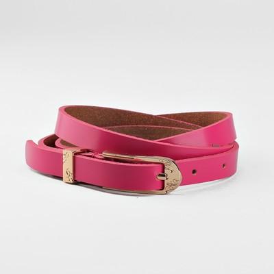 Women's belt, buckle and yoke gold, width - 1.5 cm, color raspberry