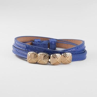 Women's belt, gold buckle, width - 1 cm, color blue
