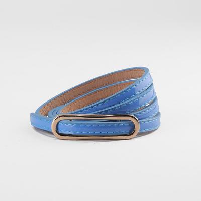 Women's belt, gold buckle, width - 0.8 cm, color blue