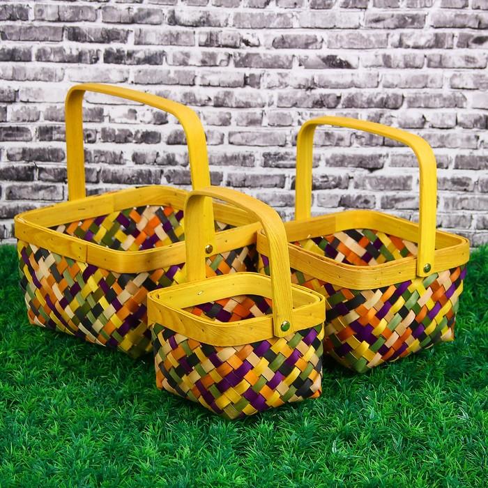 Набор корзин плетеных, 3 шт, квадратные, 21 х 21 х 12 - 13 х 13 х 9 см