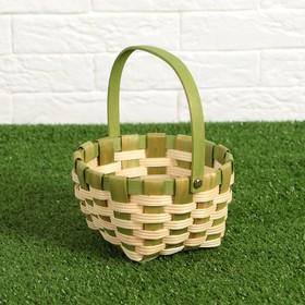 Корзина плетеная, зеленая, 16,5×9,5×20 см, шпон