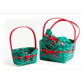 Набор корзин плетеных, 3 шт, прямоугольные, 27 х 21 х 33 - 16 х 10 х 27 см Ош