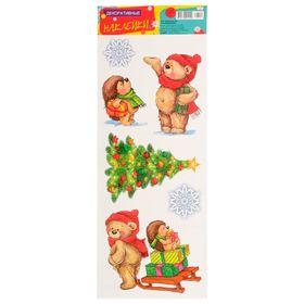 """Декоративные наклейки """"Новогодние"""" мишка и ёжик"""