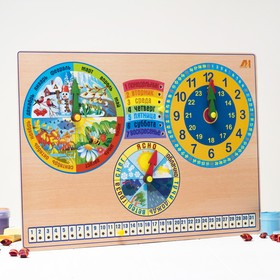 """Развивающая доска """"Календарь природы. Часы"""""""
