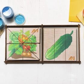 Пазлы «Сложи картинку. Овощи» 6 картинок с овощами, Деревянные Игрушки