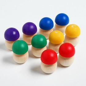 Счётный материал «Грибочки», 10 шт., с цветными шляпками, размер 1 шт: 4.2 × 2.8 см