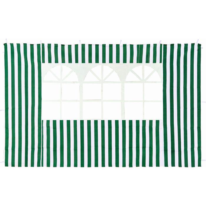 Стенка зеленая с окном для садового тента-шатра №4110