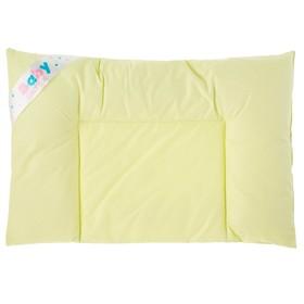 Подушка плоская OL-tex для новорожденных 40x60 см, микроволокно, тик фисташка, хлопок