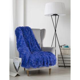 Плед мех «Шиншилла», двухсторонний, 240х220 см, синий