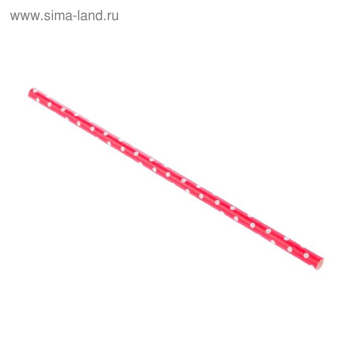 """Набор бумажных трубочек для творчества """"Горох красный"""" (10 штук) длина 19,5см"""