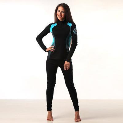 Комплект женский (джемпер, лосины) термо М-598-18, цвет чёрный/голубой, р-р 46