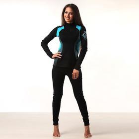 Термобельё женское (джемпер, лосины) цвет чёрный/голубой, размер 54