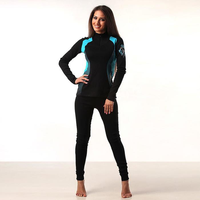 Комплект женский (джемпер, лосины) термо М-5980-18, цвет чёрный/голубой, р-р 58
