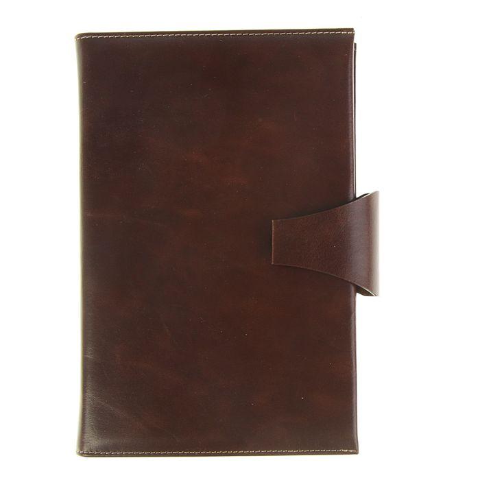 Ежедневник полудатированный А5, 208 листов Windsor, натуральная кожа, тонированный блок, золотой срез, два ляссе, застежка на кнопке, коричневый