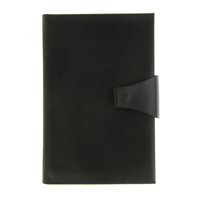 Ежедневник полудатированный А5, 208 листов Windsor, натуральная кожа, тонированный блок, золотой срез, два ляссе, застежка на кнопке, чёрный