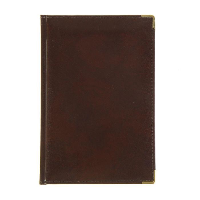Ежедневник полудатированный А5, 208 листов Imperium, натуральная кожа, тонированный блок, золотой срез, два ляссе, коричневый
