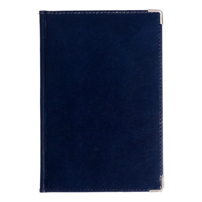 Ежедневник полудатированный А5, 208 листов Imperium, натуральная кожа, тонированный блок, золотой срез, два ляссе, синий