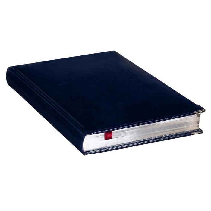 Ежедневник полудатированный А5, 208 листов Imperium, натуральная кожа, тонированный блок, золотой срез, два ляссе, синий - фото 373633938
