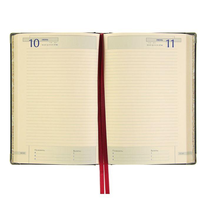 Ежедневник полудатированный А5, 208 листов Imperium, натуральная кожа, тонированный блок, золотой срез, два ляссе, синий - фото 373633939