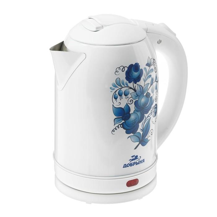 """Чайник электрический """"Добрыня"""" DO-1214, металл, 2 л, 2000 Вт, белый с синими цветами"""