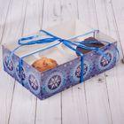 Коробка для капкейка с PVC крышкой «Узорные снежинки», 16 х 23 х 7,5 см