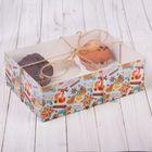 Коробка для капкейка с PVC-крышкой «Вкусности», 16 × 23 × 7,5 см
