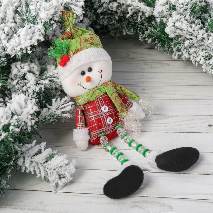 """Мягкая игрушка """"Снеговик"""" шапочка с ягодками 11*35 см"""