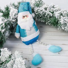 """Мягкая игрушка """"Дед Мороз в колпаке с оленями"""" 12*50 см синий"""