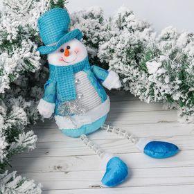 """Мягкая игрушка """"Снеговик в голубой шубке с оленями"""" 12*45 см"""