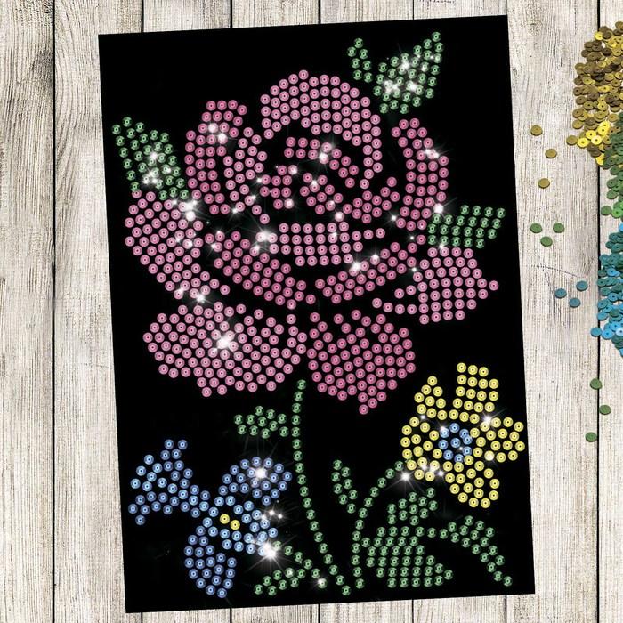 """Аппликация пайетками с клеевым слоем """"Цветы"""", 21×30 см"""