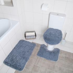 "Набор ковриков для ванны и туалета 3 шт 32х40, 40х50, 50х80 см ""Пушистик"" цвет серый"