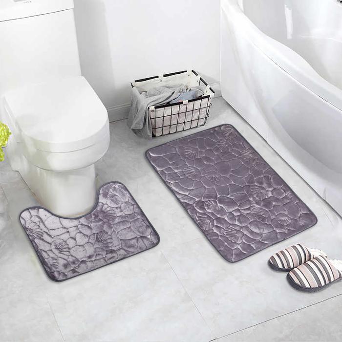 "Набор ковриков для ванны и туалета 2 шт 40х50, 50х80 см ""Галька, ракушки"" цвет серый"
