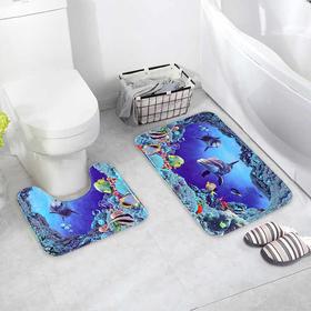 """Набор ковриков для ванны и туалета 2 шт 40х50, 50х80 см """"Морской мир"""""""