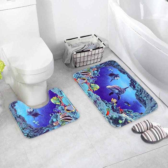 Набор ковриков для ванны и туалета «Морской мир», 2 шт: 40×50, 50×80 см
