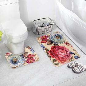 Набор ковриков для ванны и туалета Доляна «Пионы», 2 шт: 39×49, 50×80 см, цвет серый