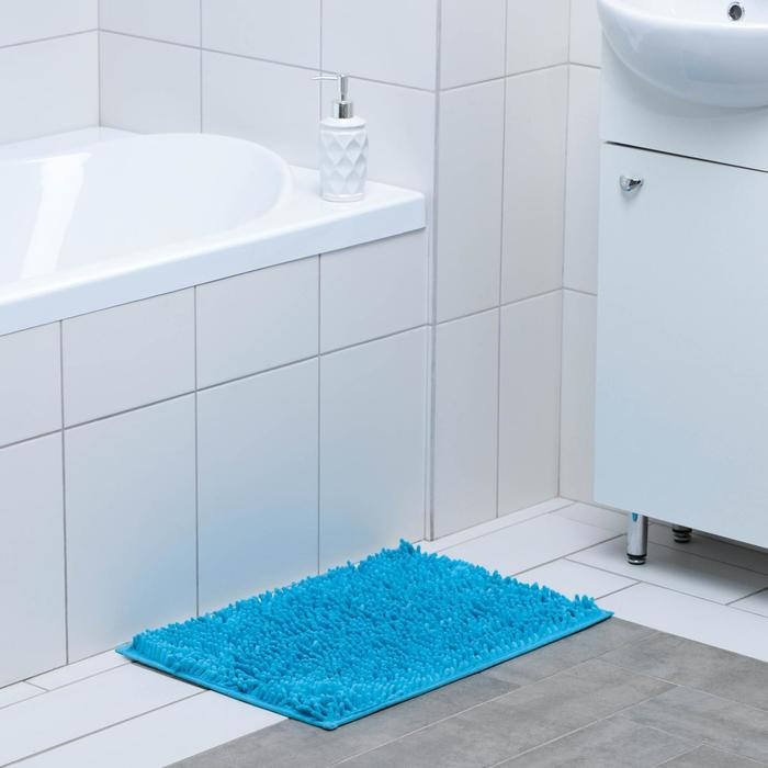 """Bath Mat """"and Wore long"""", color blue"""