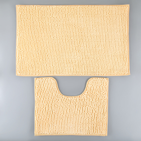 "Набор ковриков для ванны и туалета 2 шт 40х50, 50х80 см ""Букли"" цвет бежевый"
