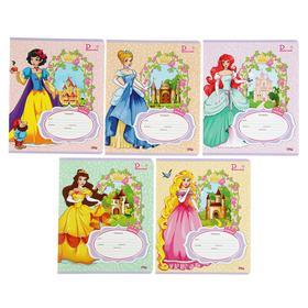 """Тетрадь 12 листов линейка """"Принцессы и замки-2"""", обложка картон хромэрзац, 5 видов МИКС"""