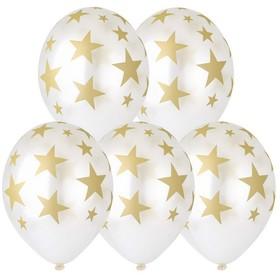 """Шар латексный 14"""" «Золотые звёзды», кристалл, шелкография, набор 25 шт., цвет перламутр"""