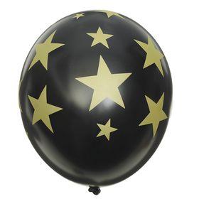 Шар латексный 14' 'Золотые звёзды', кристалл, шелкография, набор 25 шт., цвет чёрный Ош