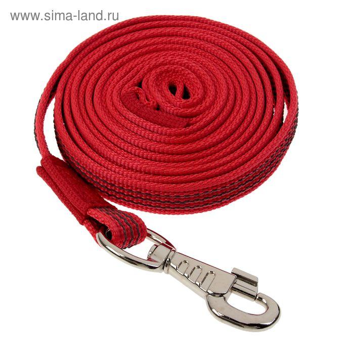 Поводок с латексной нитью двухсторонний, 3 м х 2 см, нейлон, красный