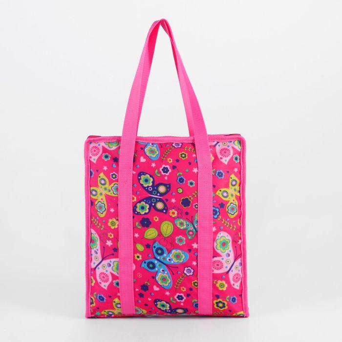 Сумка для рукоделия «Бабочки», 35 × 30 × 7 см, цвет розовый