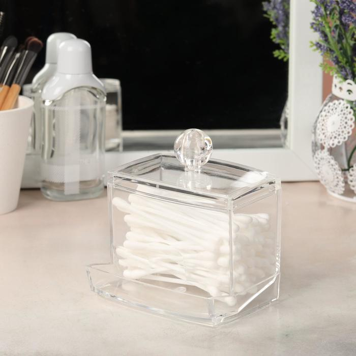 Органайзер для хранения ватных палочек, 9 × 10 × 7 см, цвет прозрачный