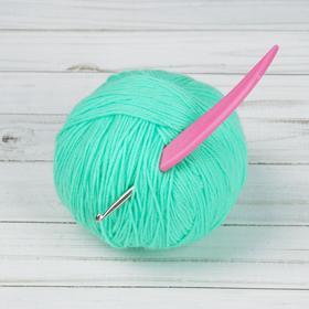 Крючок для вязания, d = 4 мм, 14 см, цвет розовый Ош