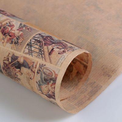 """Бумага упаковочная крафт """"Открытки с дедом морозом"""" 0,72 х 10 м"""