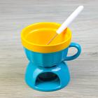 """Набор для фондю """"Сладкая чаша"""" с вилочкой 15 см, цвет желто-голубой"""