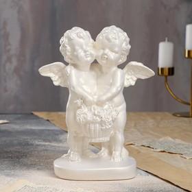 """Статуэтка """"Пара ангелов с корзиной цветов"""", перламутровая, 26 см"""