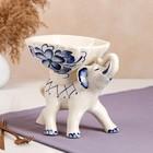 """Конфетница """"Слон"""", роспись, бело-синяя, керамика - фото 233049"""